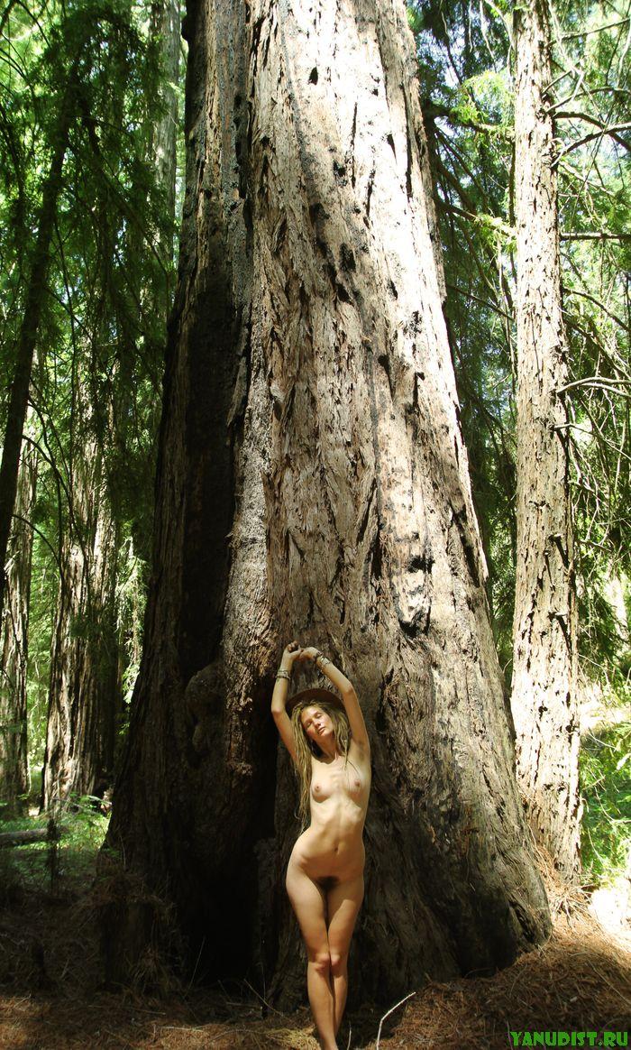 Славная нудисточка прогуливается по лесу голышом с мыслями о тебе
